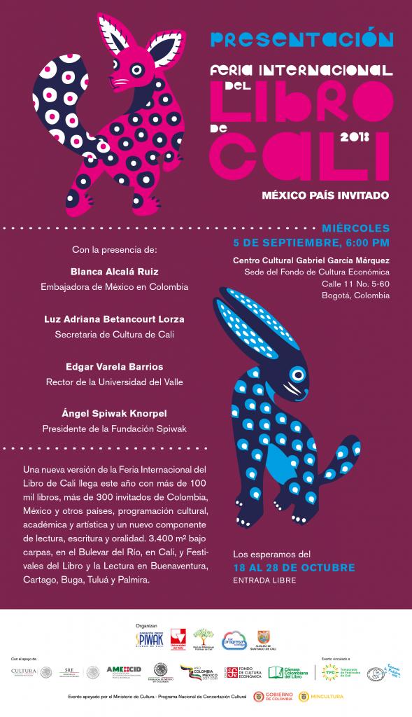 FERIA INTERNACIONAL DEL LIBRO DE CALI 2018, MÉXICO PAÍS INVITADO - Invitación-Lanzamiento-5-septiembre-589x1024