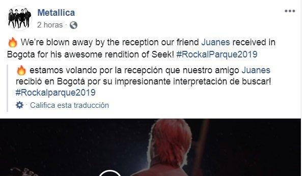 Metallica agradece a Juanes por interpretar su éxito