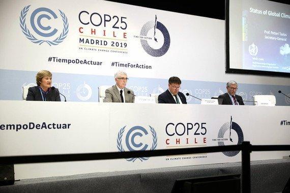 Presentación esta mañana del nuevo informe de la Organización Meteorológica Mundial en la COP25 de Madrid. / Álvaro Muñoz Guzmán (SINC)