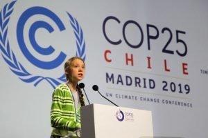 Greta Thunberg en su intervención esta mañana en el plenario de la COP25. / UNclimatechange