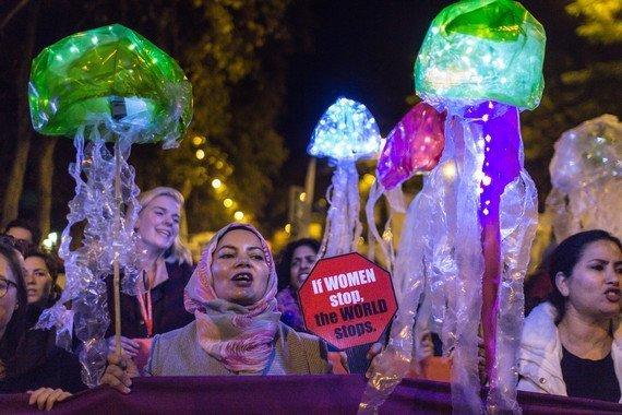 Mujeres manifestándose en la COP 25. / FOEI