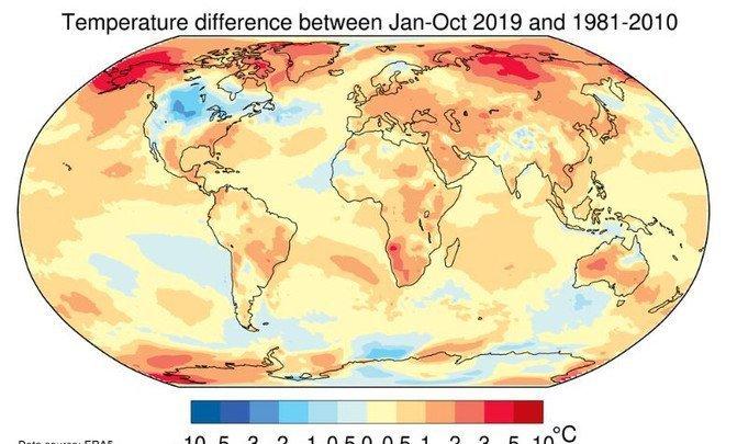 El año 2019 cierra una década de calentamiento global sin precedentes - Temperaturas_image671_405
