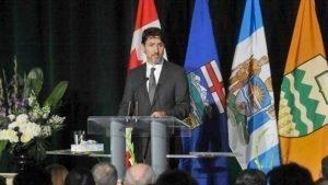El primer ministro de Canadá, Justin Trudeau, en un acto conmemorativo para víctimas del derribo del Boeing 737, 12 de enero de 2020. (Foto: AFP)