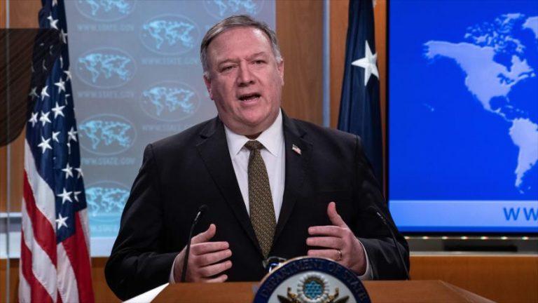 El secretario de Estado estadounidense, Mike Pompeo, ofrece una rueda de prensa en Washington, 22 de abril de 2020. (Foto: AFP)