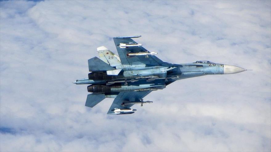 Un avión ruso de combate Su-27.