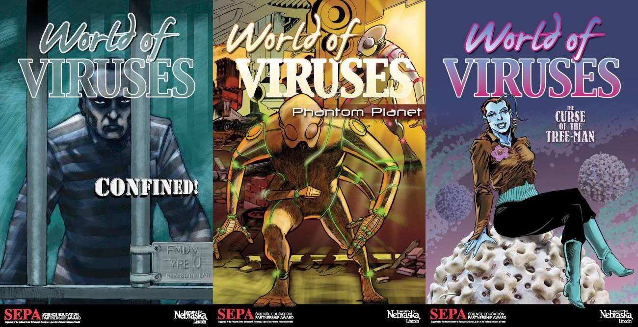 Novelas gráficas del proyecto 'Mundo Virus' / © Museo Estatal de la Universidad de Nebraska