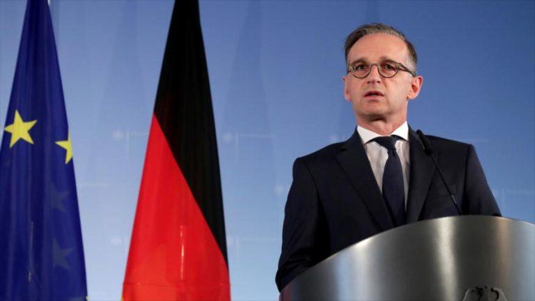 El ministro de Relaciones Exteriores alemán, Heiko Maas, durante una conferencia de prensa, en Berlín, la capital, 2 de julio de 2020. (Foto: AFP)