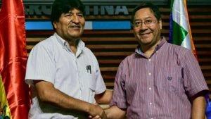 El depuesto presidente boliviano, Evo Morales (izq.) y el candidato presidencial boliviano por el MAS, Luis Arce, en Buenos Aires, 27 de enero de 2020. (Foto: AFP) - 1237336_xl-300x169