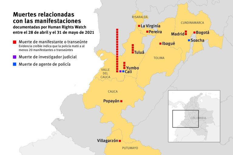 """Informe de Human Rights Watch """"brutalidad policial contra manifestantes"""" - 202106Americas_Colombia_Mapa-scaled-1"""