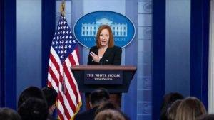 La portavoz de la Casa Blanca, Jen Psaki, durante una rueda de prensa en la Casa Blanca, Washington D.C. (la capital), 20 de julio de 2021. - 08113652_xl-300x169