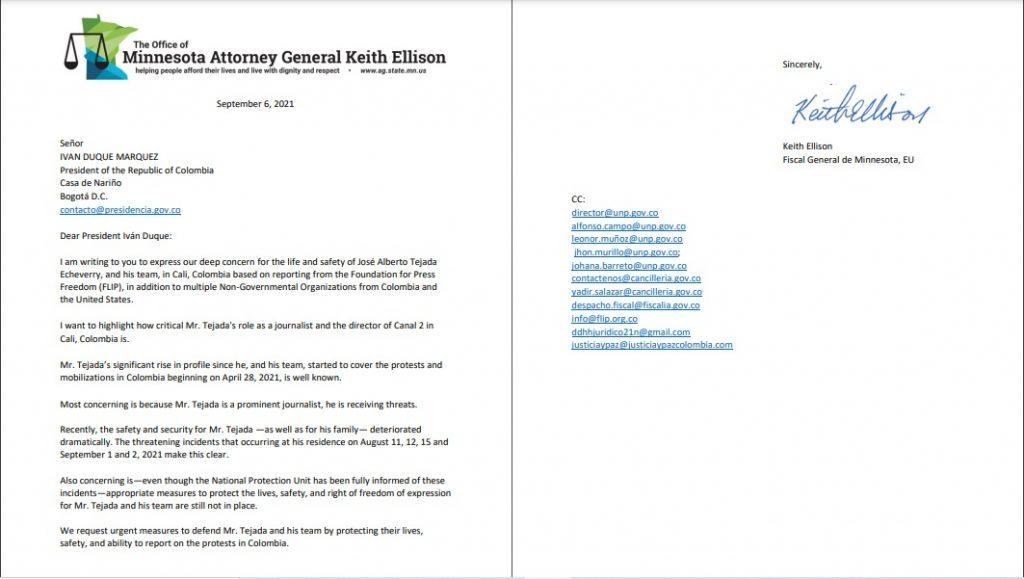 Carta del Fiscal General de Minnesota Keith Ellison al Presidente Iván Duque solicitando medidas urgentes de protección para José Alberto Tejada y el equipo de comunicación del Canal Dos - Keith-Ellison-1024x579-1